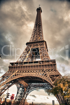 Bottom-Up view of Eiffel Tower, Paris