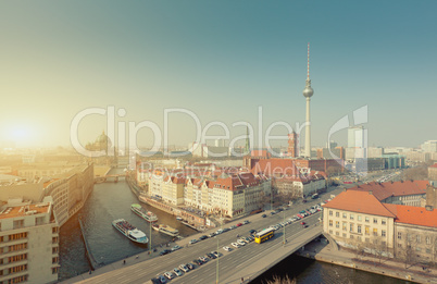 Berlin Skyline City Panorama with Sun - famous landmark in Berlin, Germany, Europe
