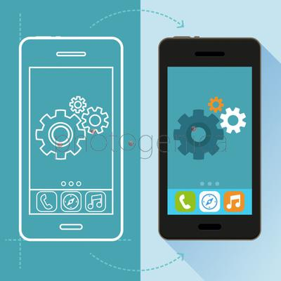 Vector app development concept in flat style - mobile phone and sketch on screen - infographic design elements and icons