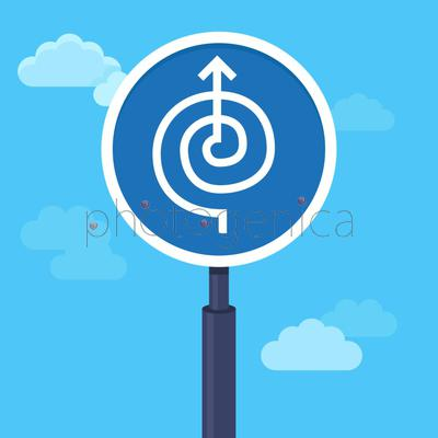 Vector abstract strategy concept in flat style - road sign with arrow - way to success