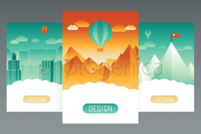 Vector abstract splash screens for mobile phone app with landscapes