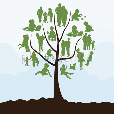 Family tree. Family tree with leaves in the form of people. A vector illustration