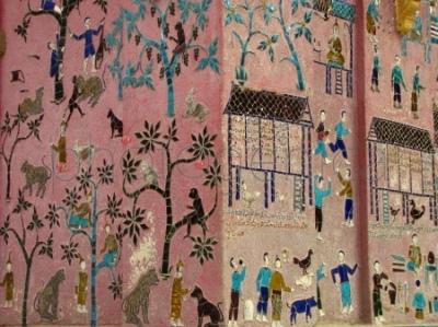 Mozaika na ścianie haw tai (Tripitaka library)