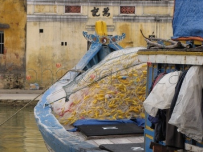 Łódka na rzece Thu Bon w Hoi An