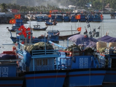 Łódki na rzece Cai w Nha Trang