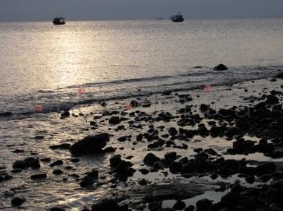 Zachód słońca na wybrzeżu w Malace