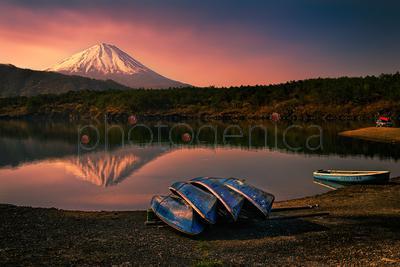 Mountain peak and lake in evening