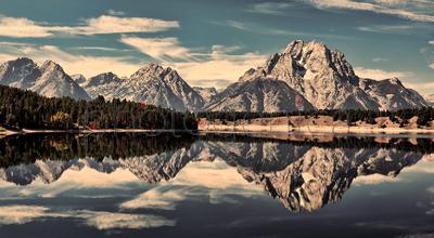 Teton Range reflecting in lake