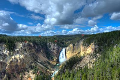 Scenic landscape with Yellowstone Lower Falls, USA