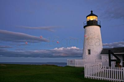 Pemauid Point Lighthouse against evening sky, Bristol, Maine, USA