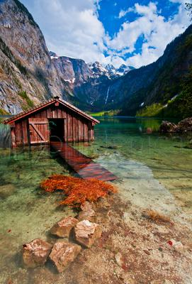 Wooden hut on lake