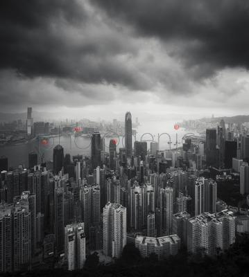 Cityscape of Hong-Kong and Victoria Harbor before storm
