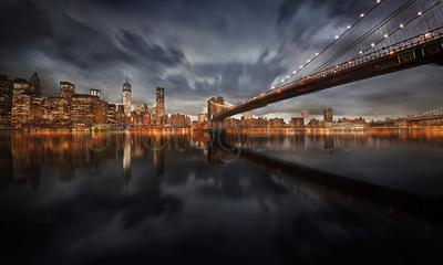 Cityscape of Brooklyn and Brooklyn Bridge at night, New York City, New York State, USA