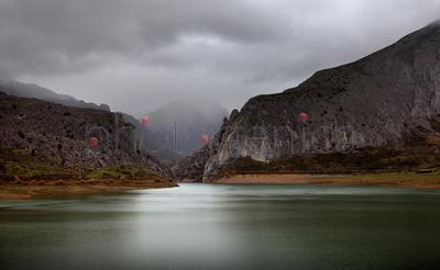 Mountain landscape in mist
