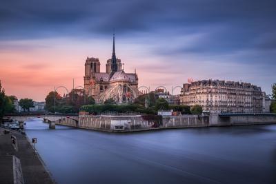 Cityscape and river, Paris, France